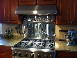 Backsplash With Diamond Pattern Custom Stainless Steel Spice Rack