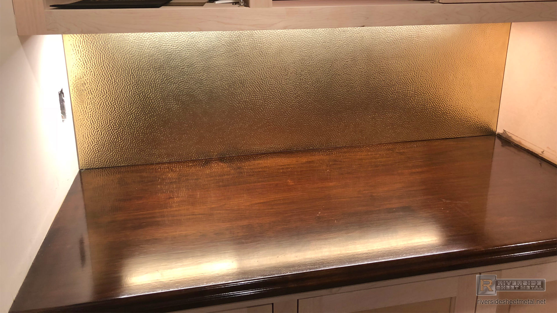 Hammered Brass Back Splash Custom Fabricated And Installed