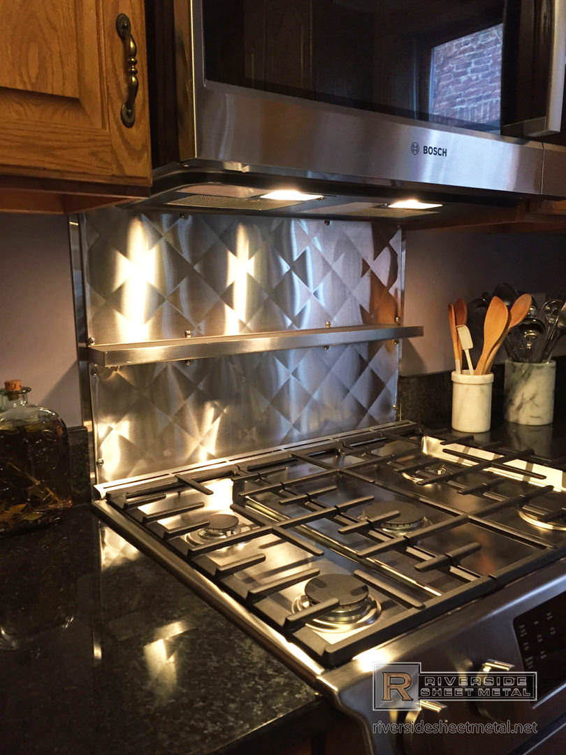 Custom Quilted Back Splash In Stainless Steel With Shelf