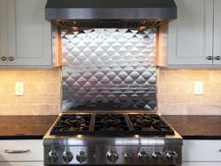 Quilted diamond stainless steel back splash installation