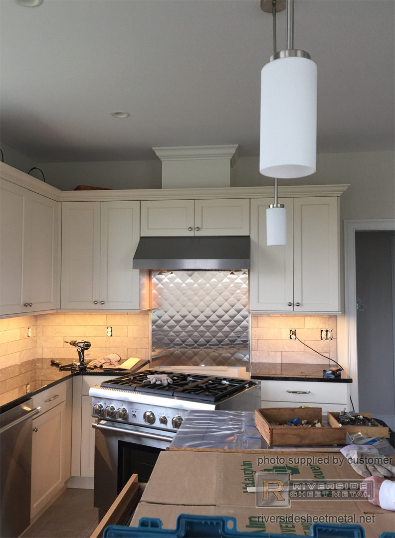 Quilted Diamond Stainless Steel Back Splash Installation