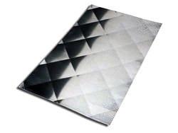 Stainless steel backsplash with diamond pattern