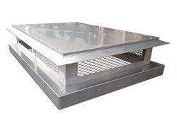 Stainless steel chimney cap with angled detailed roof - #CH001