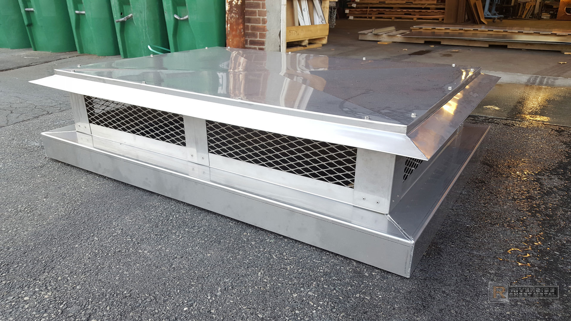 Stainless Steel Chimney Cap With Angled Detailed Roof Ch001