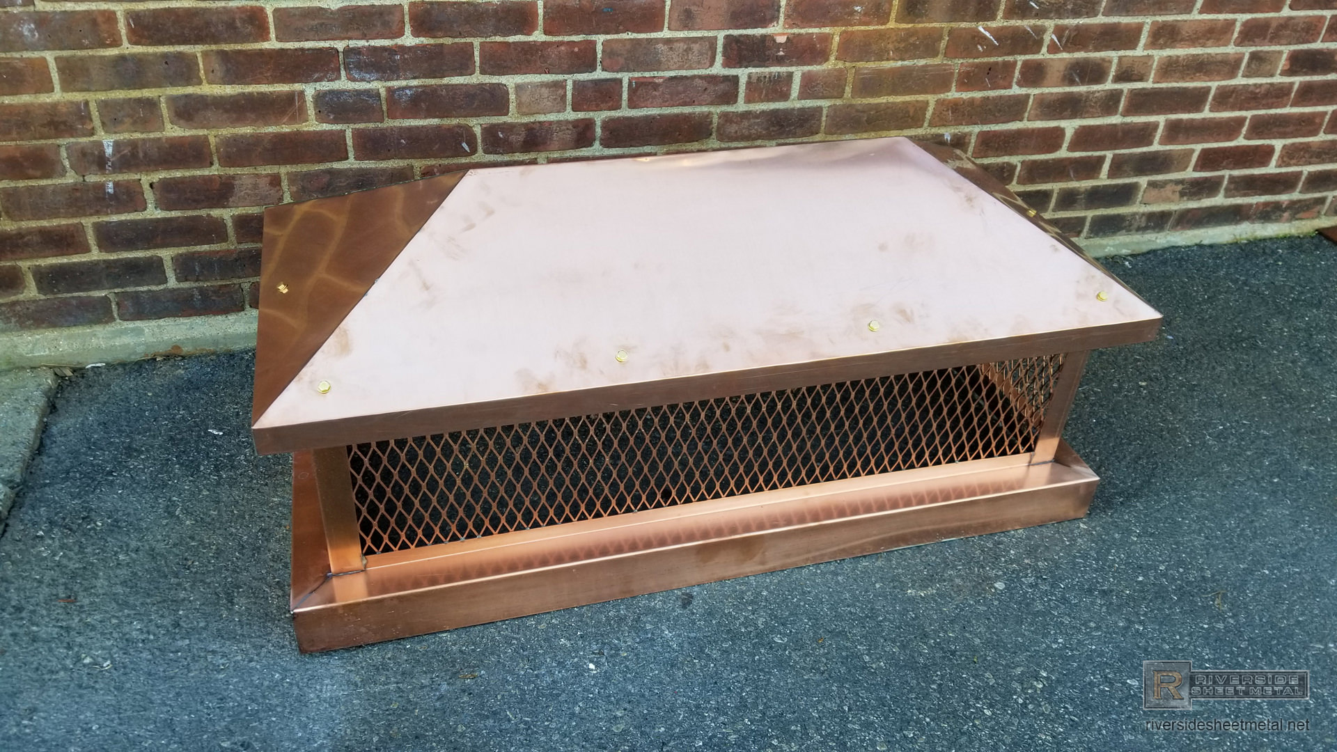 Pre Patina Copper Custom Chimney Cap With Pitched Roof
