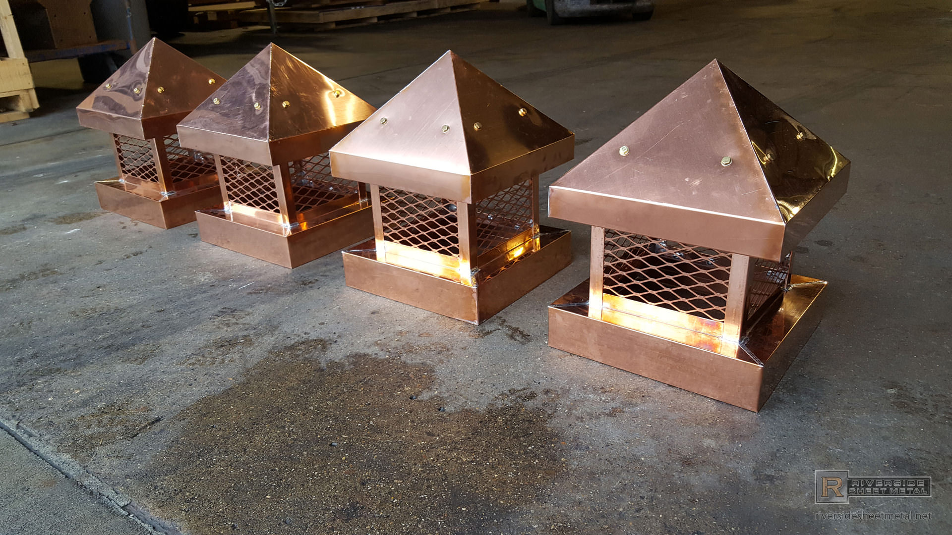 Pre Patina Copper Custom Chimney Cap With Pitched Roof Ch002