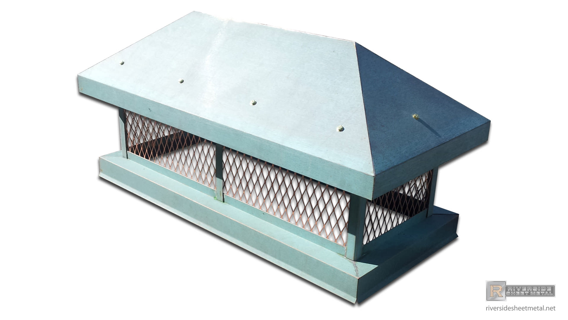 Custom Chimney Caps ~ Pre patina copper custom chimney cap with pitched roof