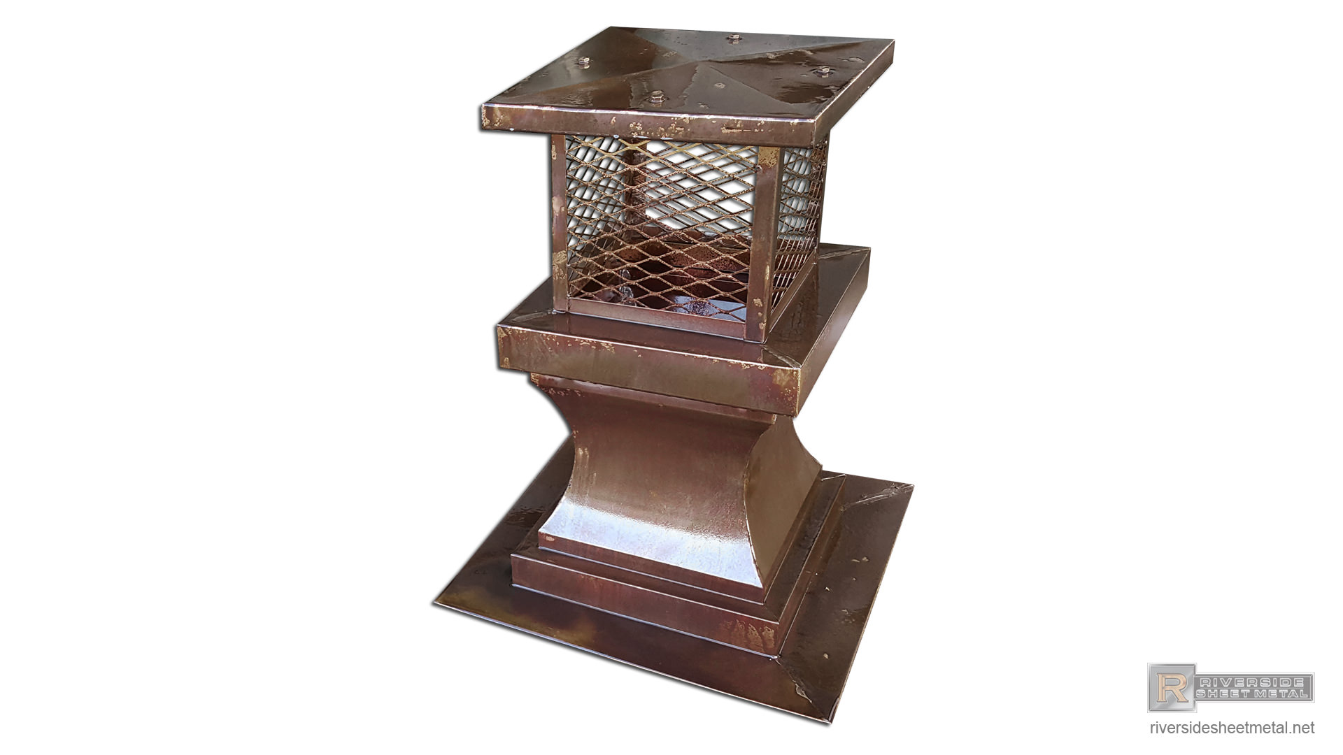 Copper Chimney Cap With Radius Detail And Expanded Copper