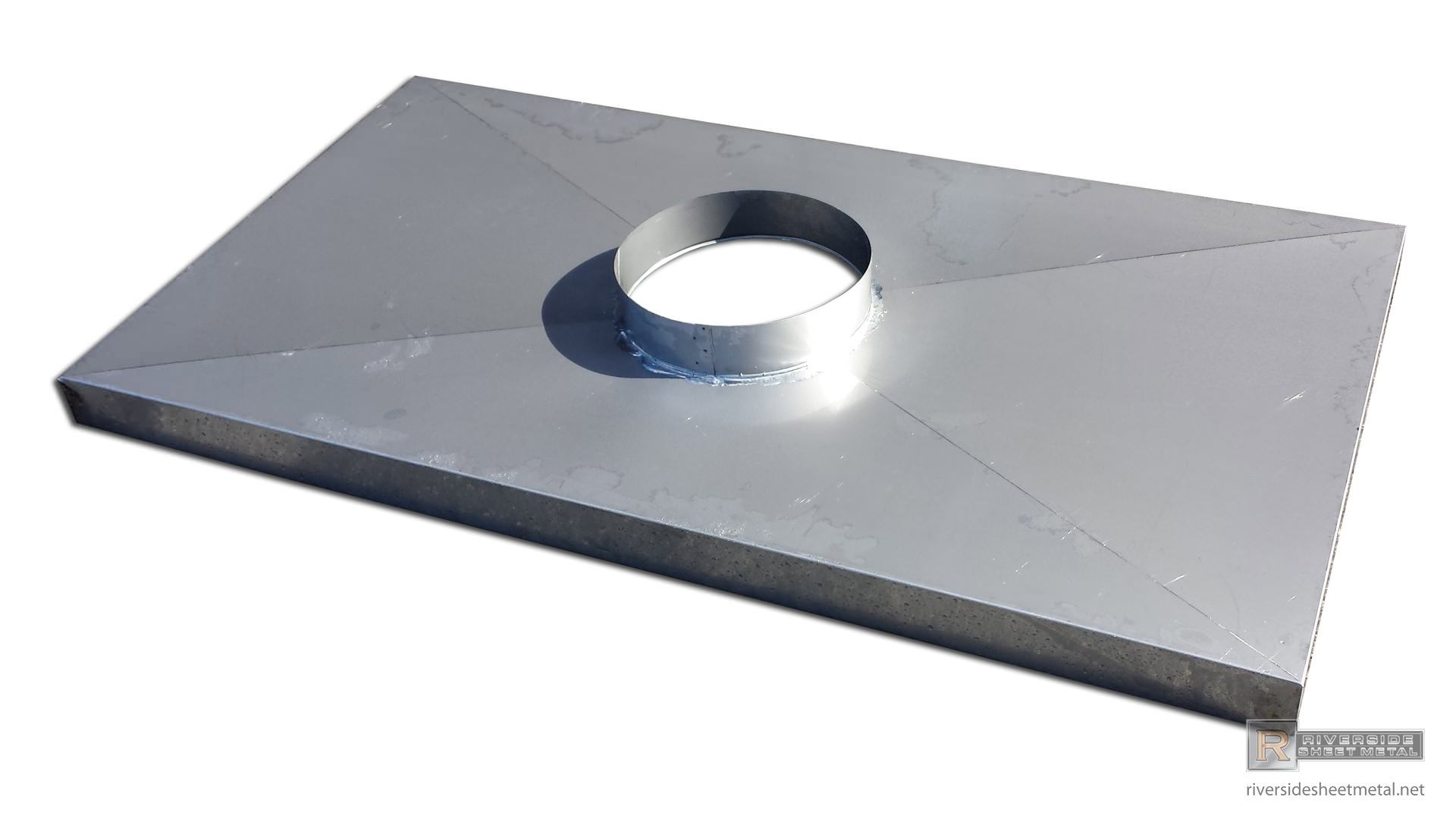 Weathervanes >> Chimney chase cover with flue vent hole and x-bend - #CH005
