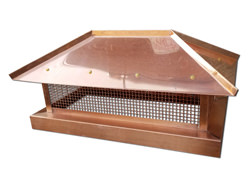Copper chimney cap with hip roof - #CH006