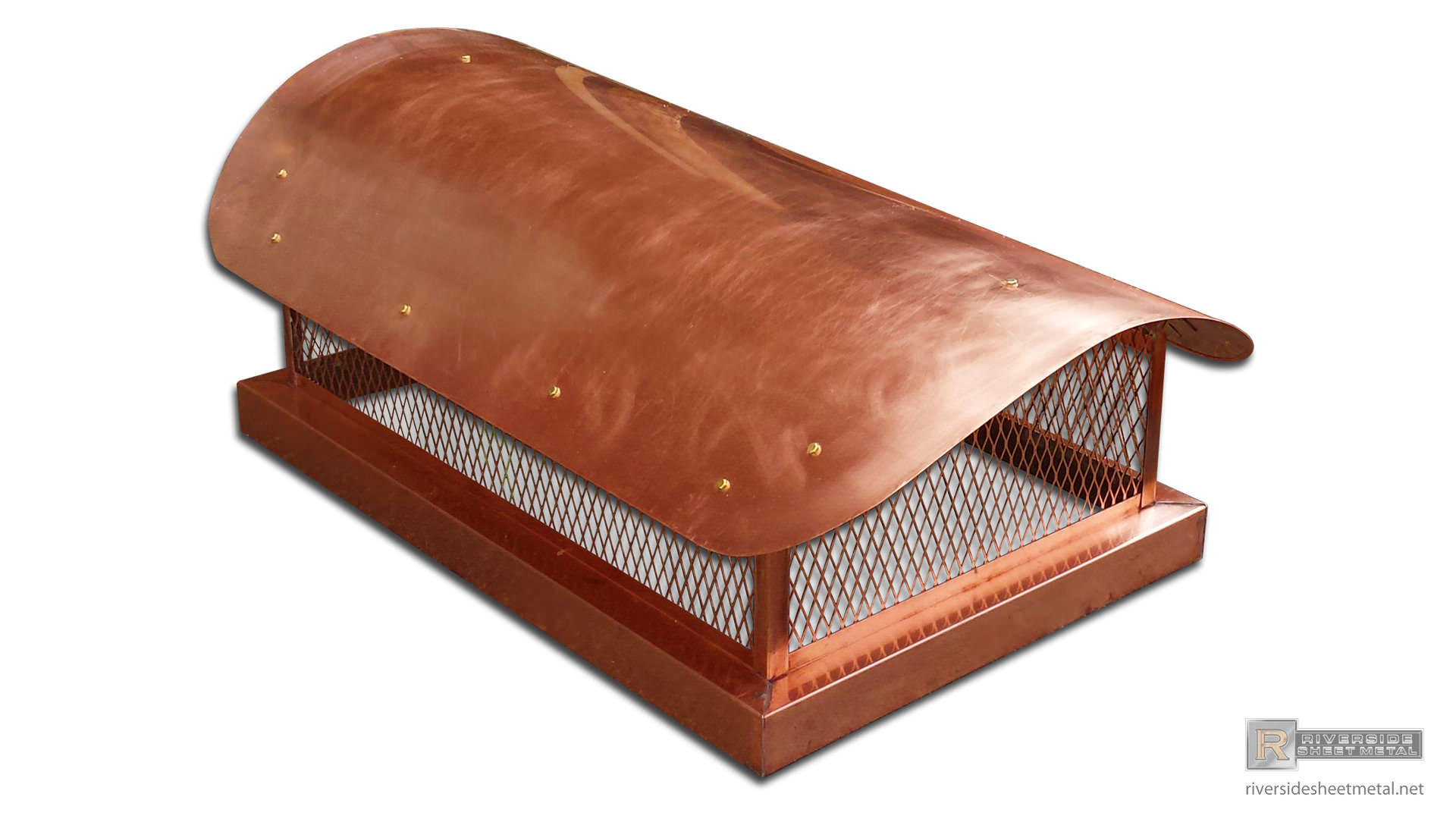Copper Chimney Cap Custom Made With Radius Roof Ch008