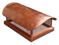 Copper chimney cap custom made with radius roof - #CH008