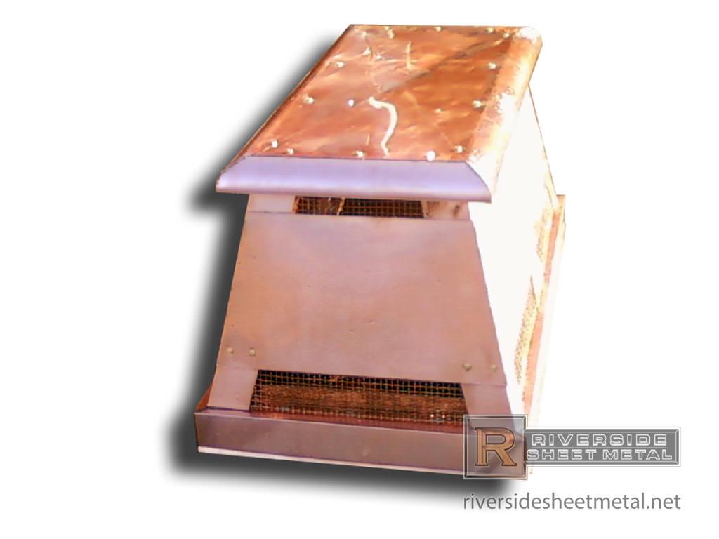 Copper Chimney Cap Custom Made With 48oz Ch010