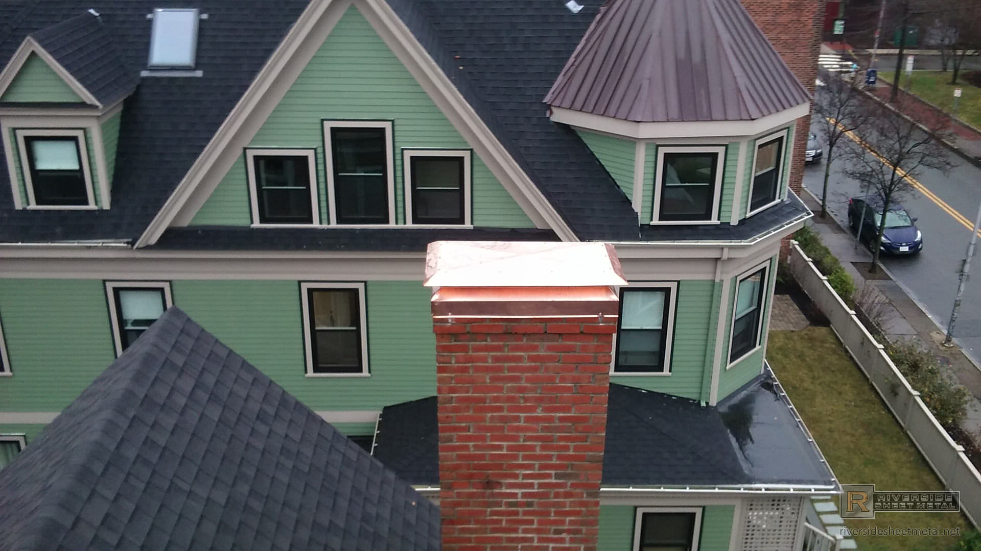 Non Venting Copper Chimney Cover With Angled Base And Flat