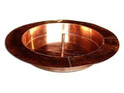 Round copper pan with flange custom made for outside fountain