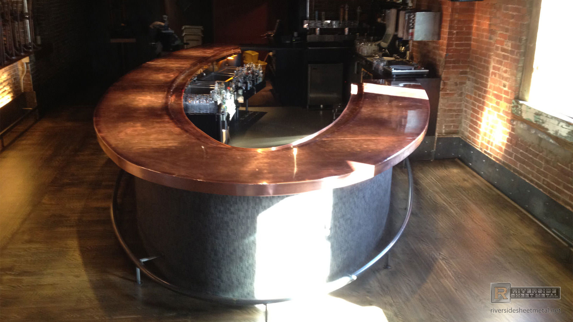 Copper Counter Top With Finished Round Edges Copper Bar Remodeled Using  Copper ...