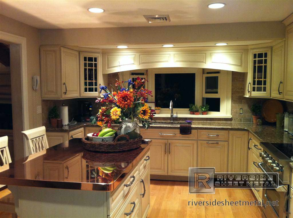 Kitchen island with copper counter top  Copper Counter Tops