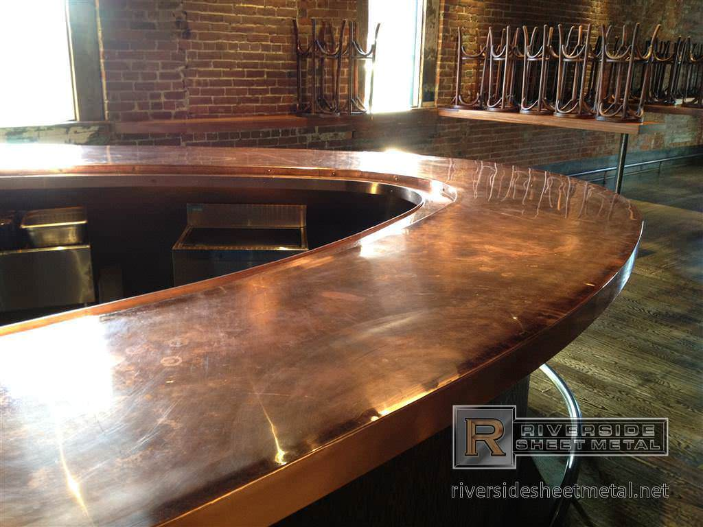 Rolled edge copper bar bar stuff pinterest for What to use for a bar top