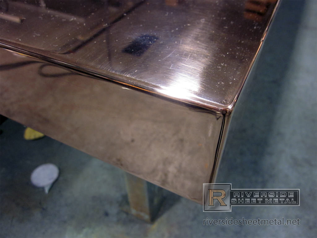 Finished Welded Corner Detail On A Copper Counter Top