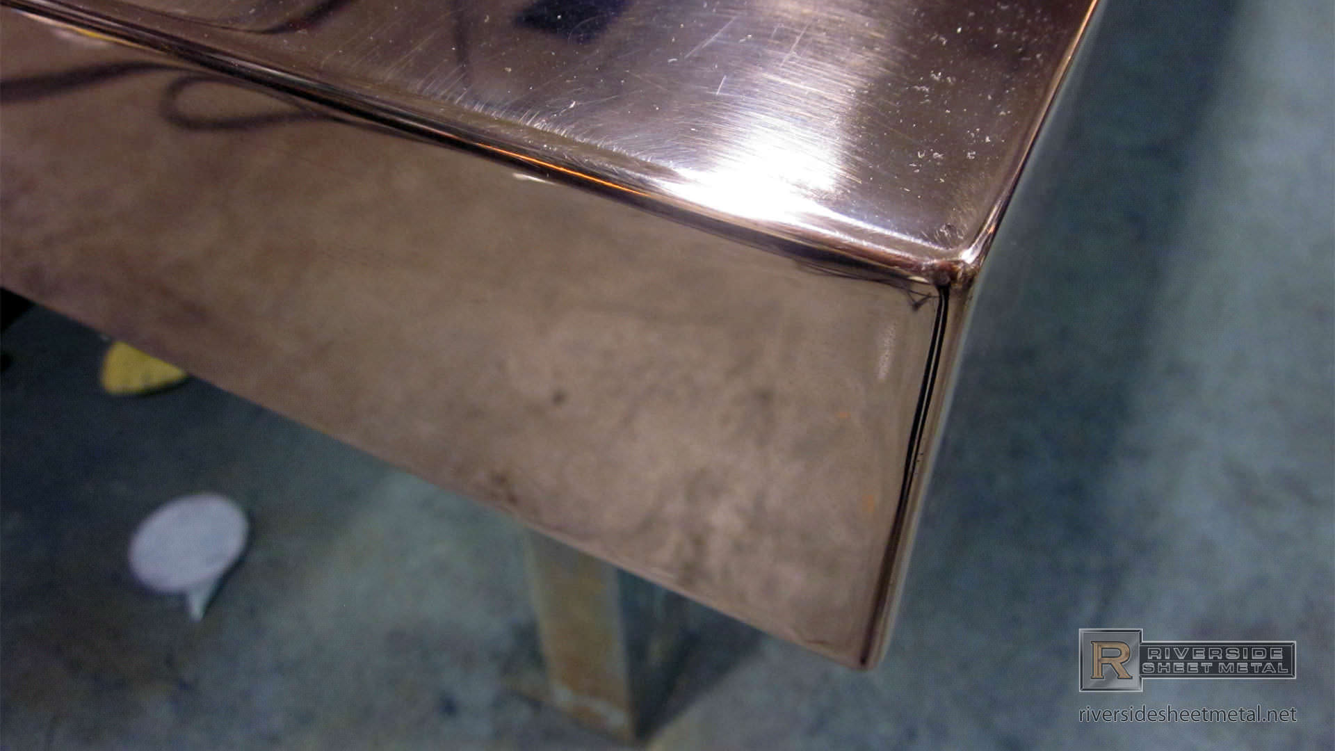 Copper Counter Top In Fabrication With Welded Corners