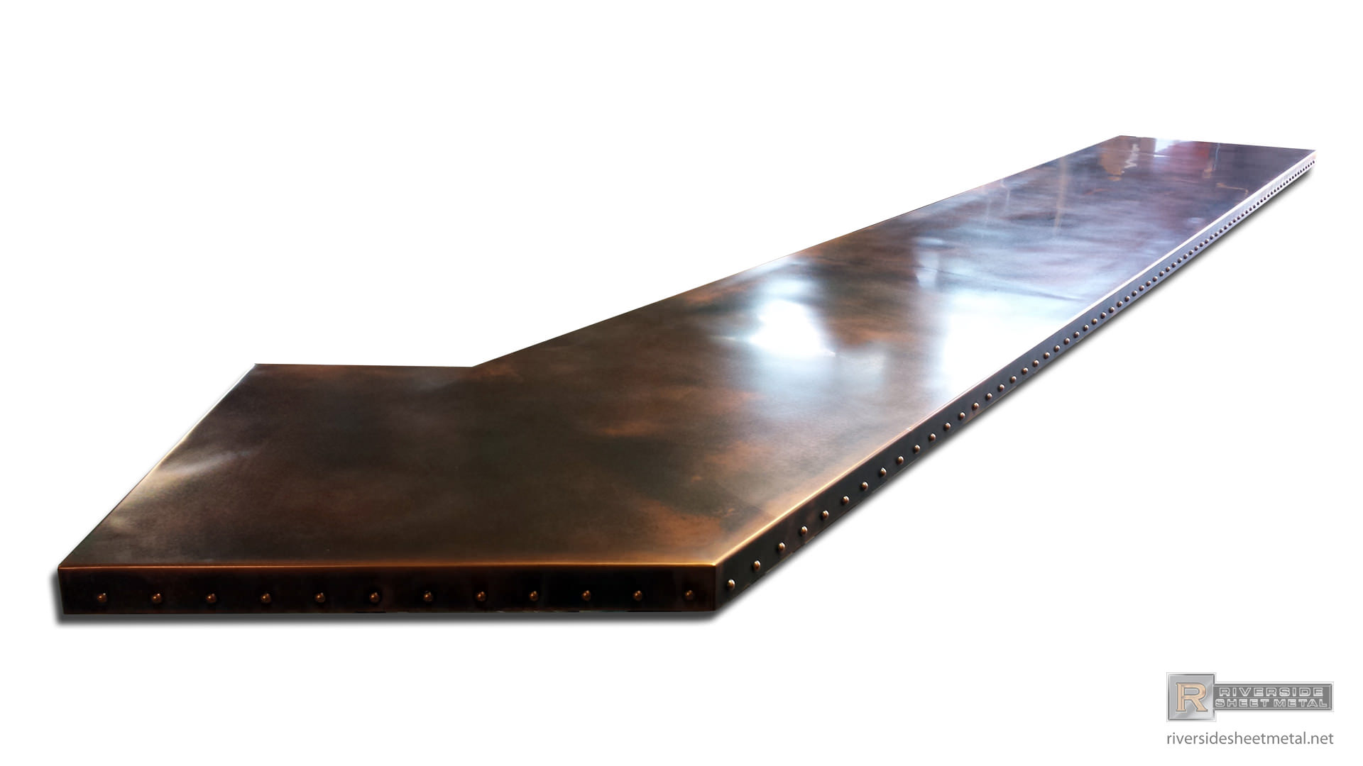 Custom copper bar table top with dark wash patina and rivets copper bar table top with dark wash patina and rivets view 2 watchthetrailerfo