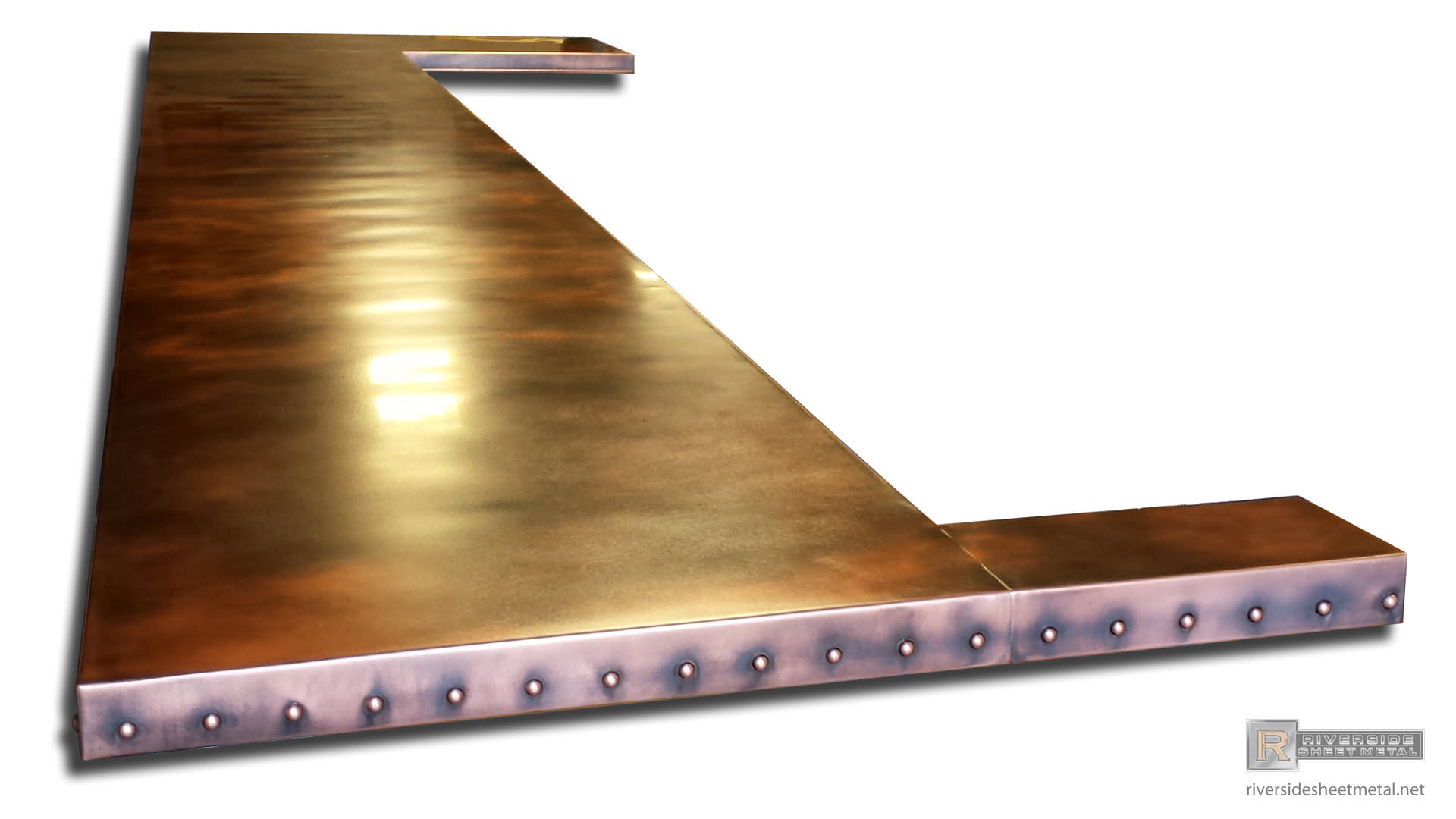 Custom copper bar table top with dark patina and round rivets for How to make a copper bar top
