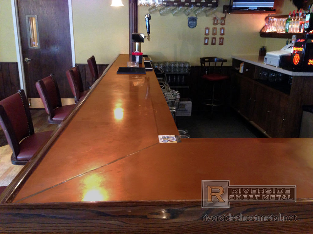 Copper bar top with wooden arm molding rest ma usa for What to use for a bar top