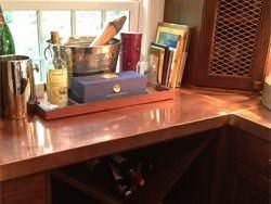Copper top installation on home bar