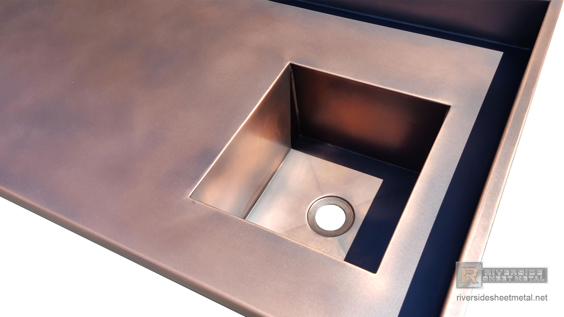 Copper Counter Top Integrated Sink Backsplash And A