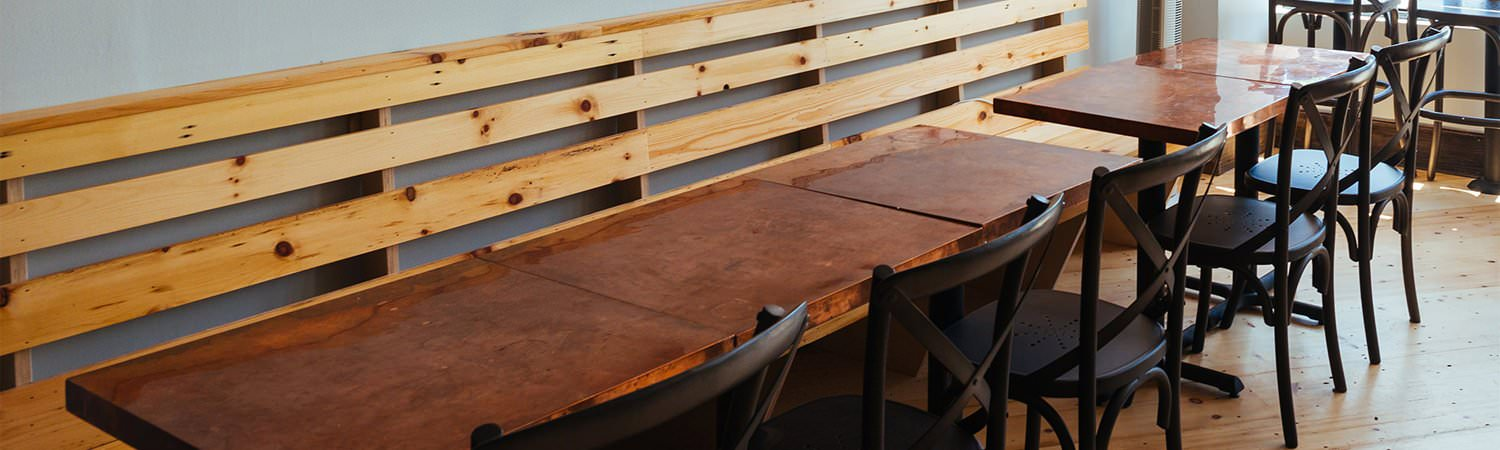 Natural copper counter and table tops for restaurant