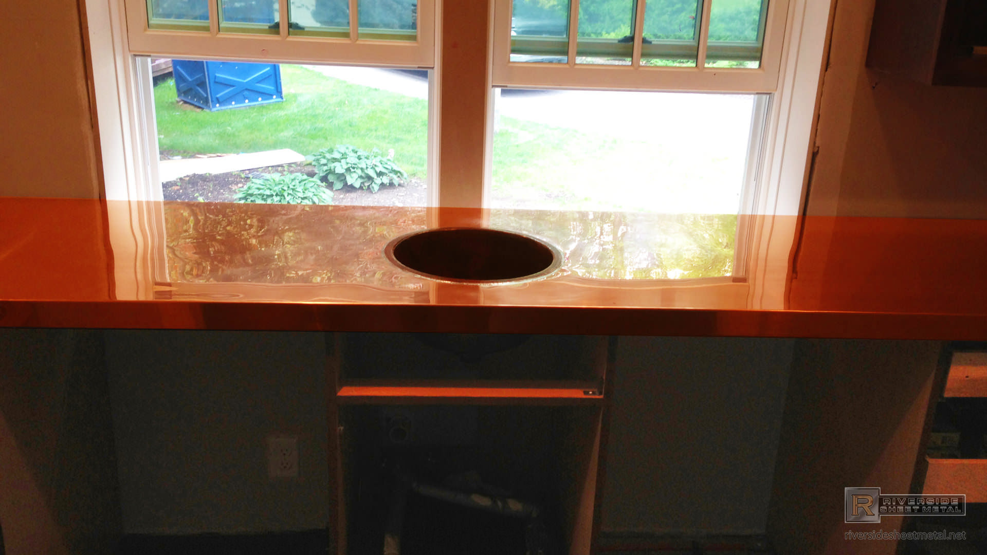 Home Bar With Top Mounted Hammered Copper Sink Boston Usa