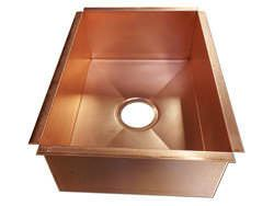Rectangular custom made copper sink for counter top