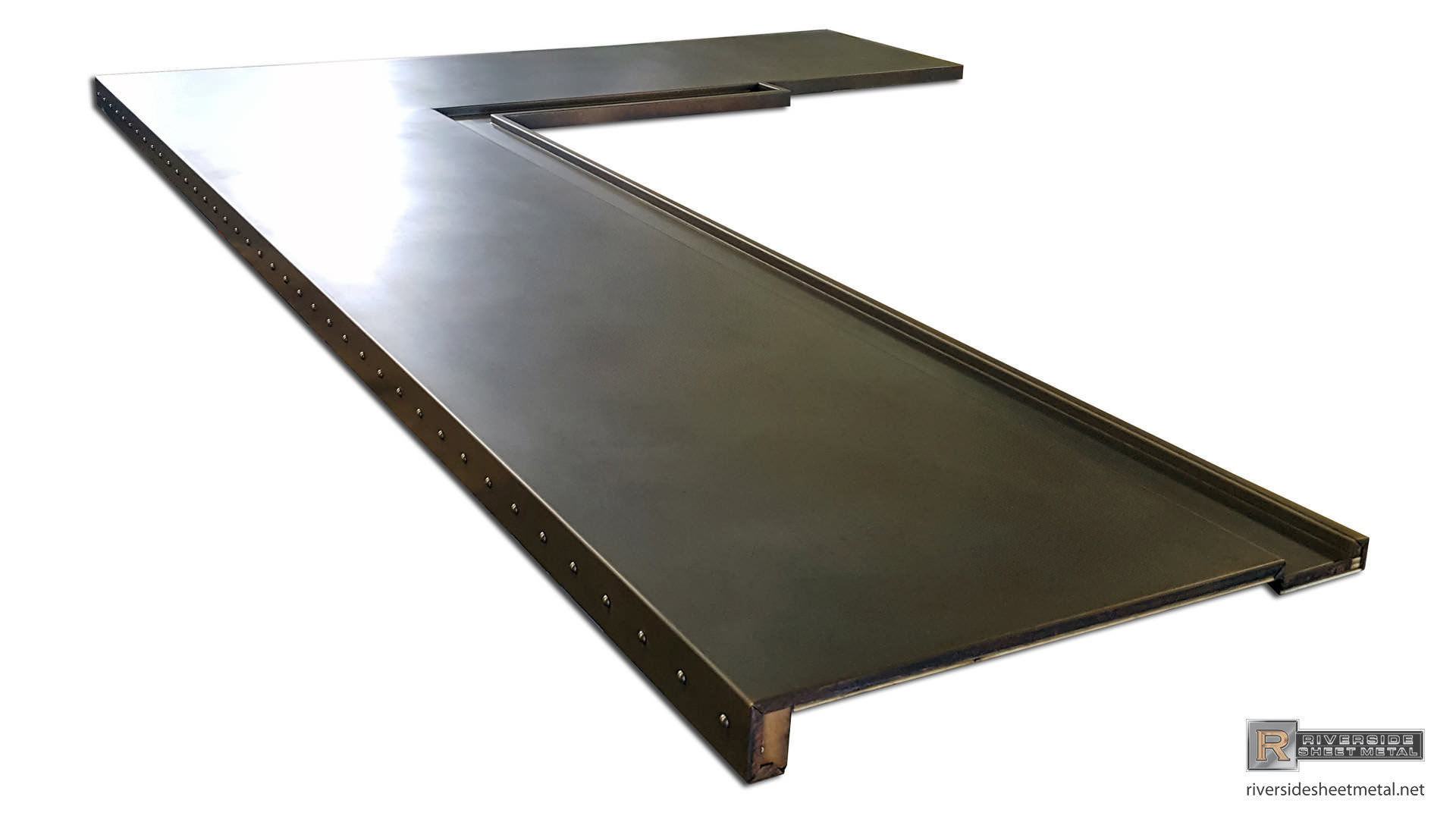 Dark patina copper bar top with drink rail and rivets for How to make a copper bar top