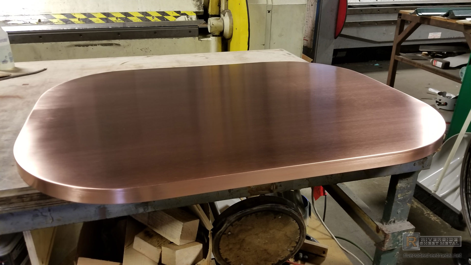 Oval Custom Brushed Copper Table Top With Soldered Edge