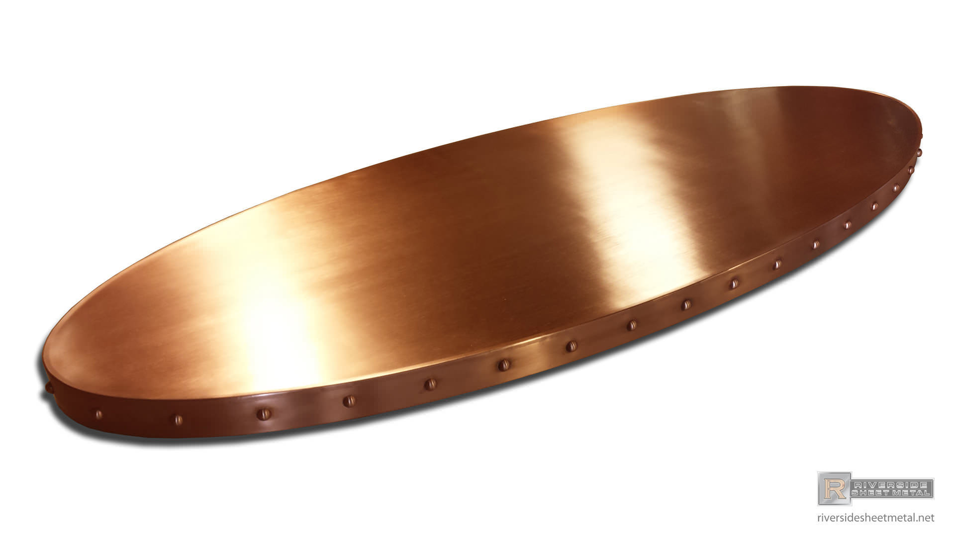 Copper bar top decorated with rivets - Custom Made Shipped