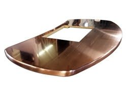Oval copper island top with cooktop hole