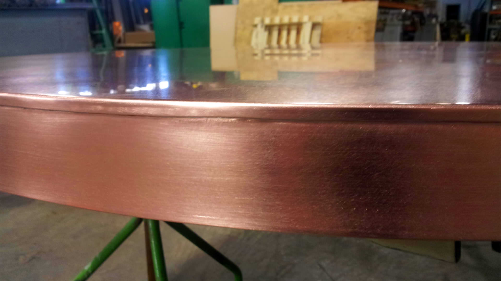 Oval Island Copper Counter Top With Satin Finish