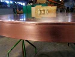 Round soldered seam on copper counter top detail