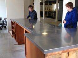 Stainless steel counter top installation