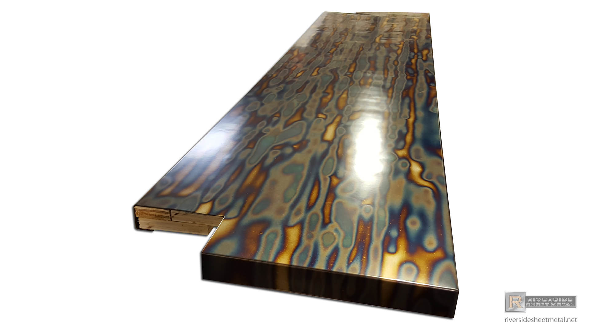 Blue Heat Patina Cold Rolled Steel Counter Top Clear Coated