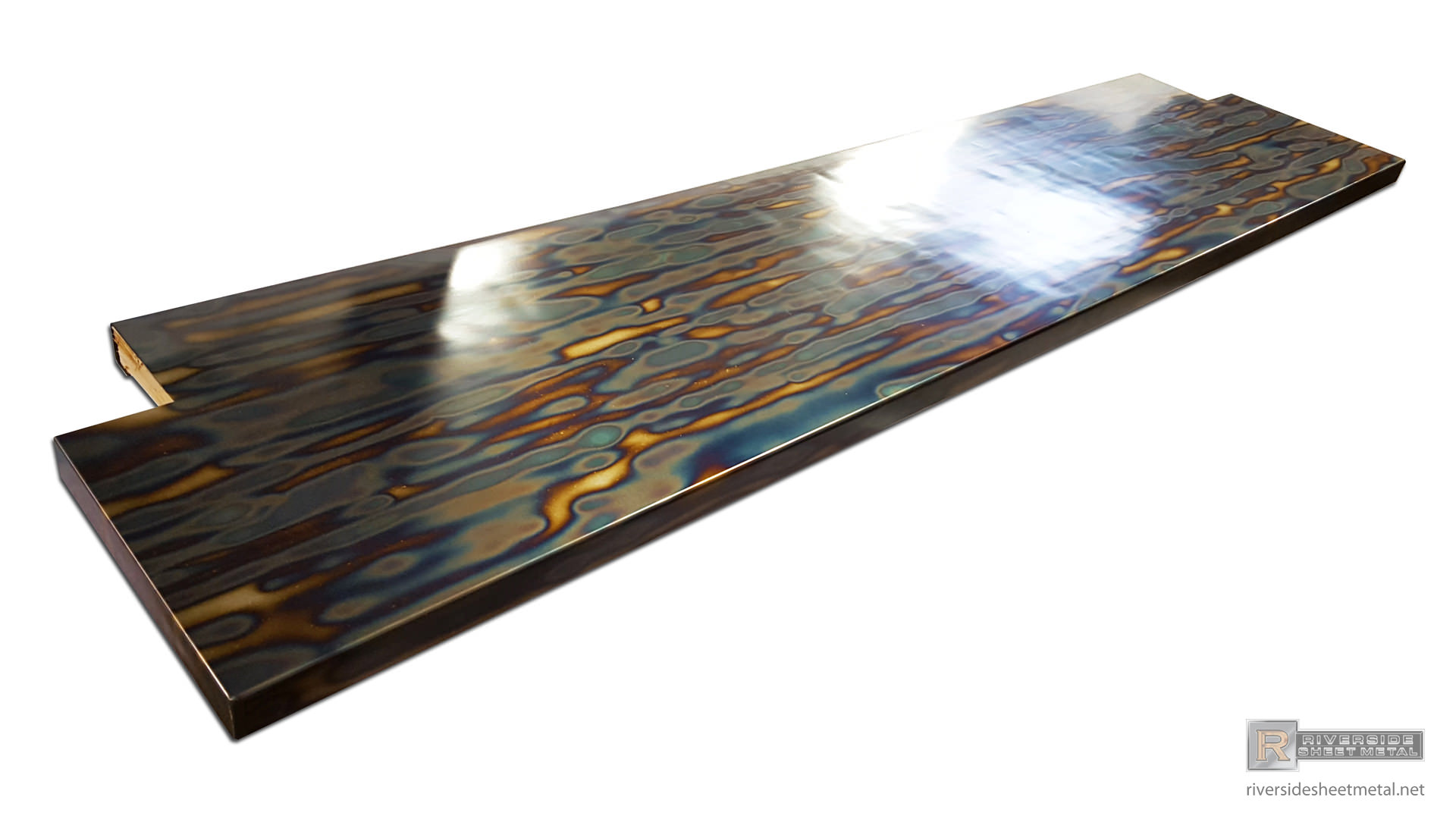 Blue Heat Patina Cold Rolled Steel Counter Top Clear Coated View 3
