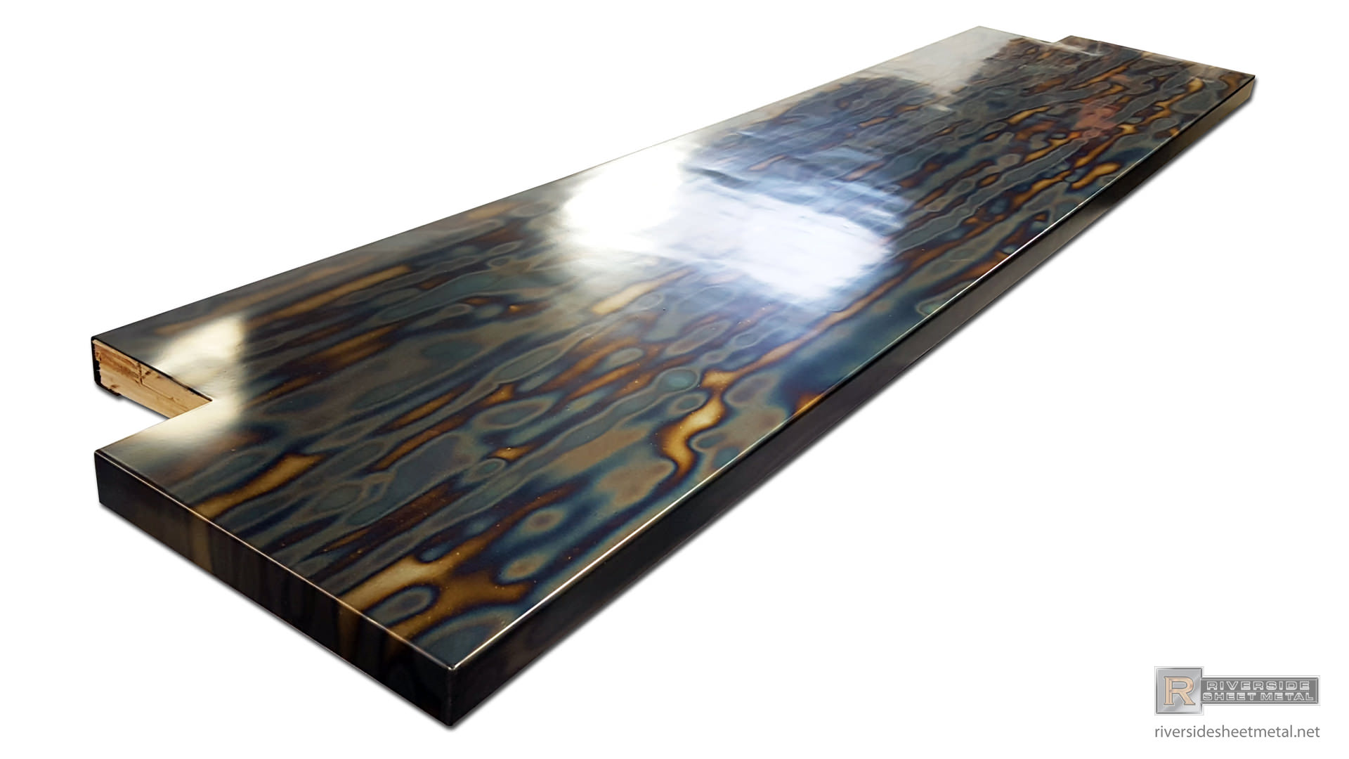 Blue Heat Patina Cold Rolled Steel Counter Top Clear Coated View 5