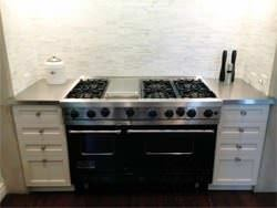 Small #4 finish stainless steel counter tops kitchen installation next to stove