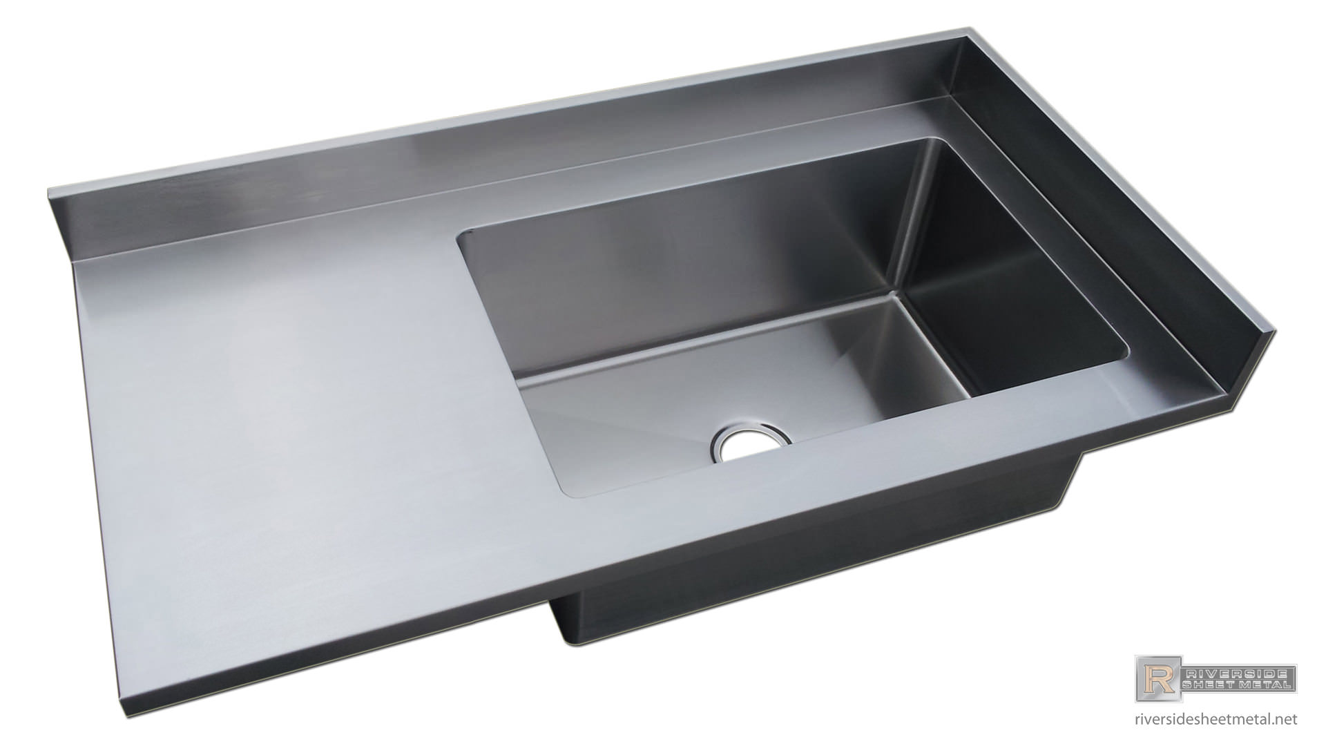 Stainless steel 4 finish counter top with integrated sink for Stainless steel countertop with integral sink