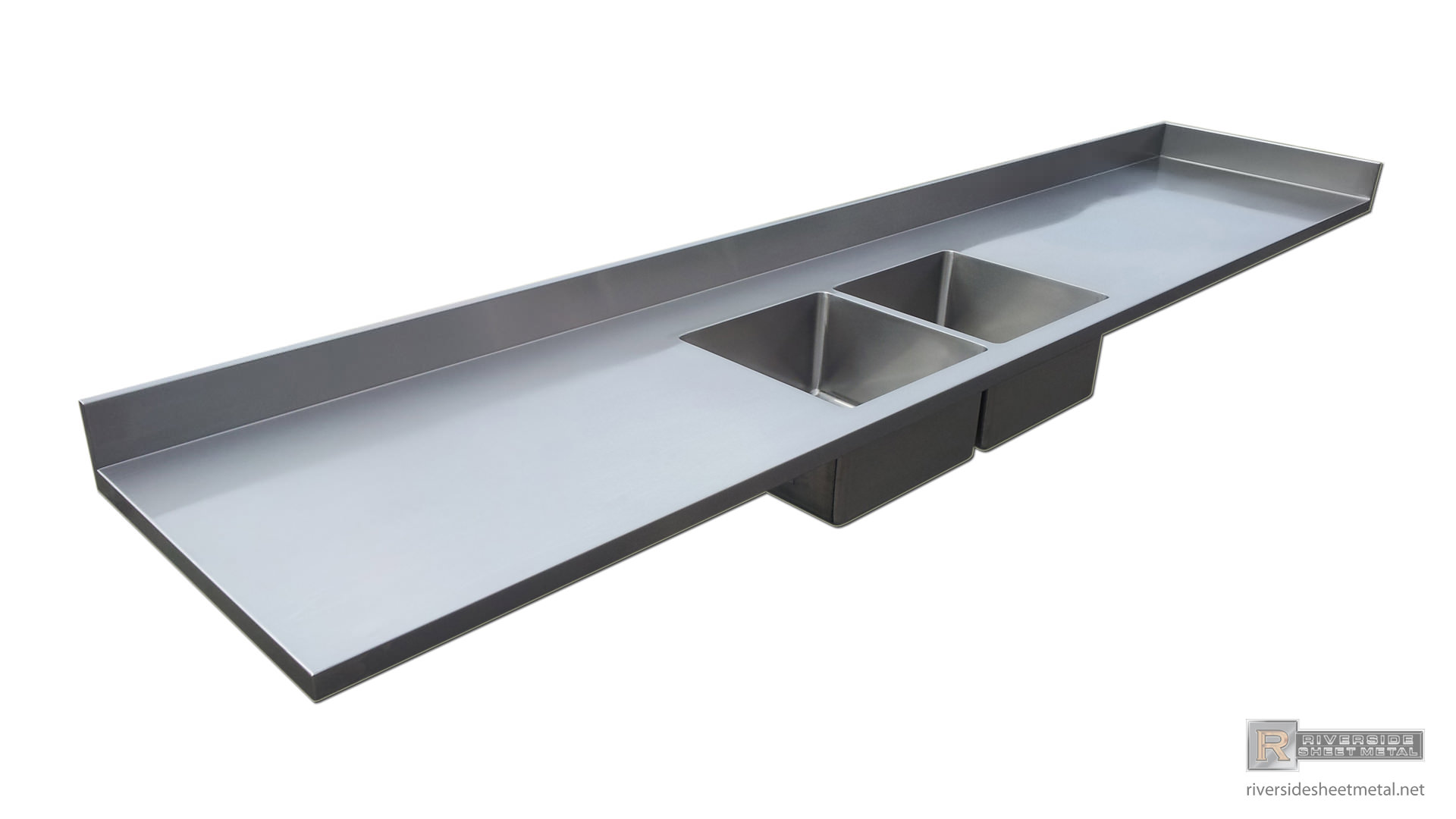 Stainless steel counter tops with integrated sinks