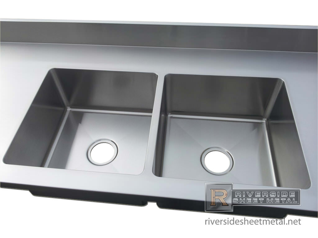 Stainless steel custom counter top with 2 integrated sinks for Stainless steel countertop with integral sink