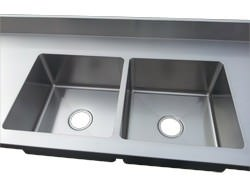 2 integrated sinks on number 4 finish stainless steel counter top