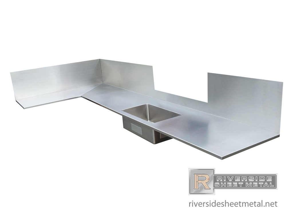 Stainless Steel Sink With Counter : Counter top with integral sink installed - Counter Tops