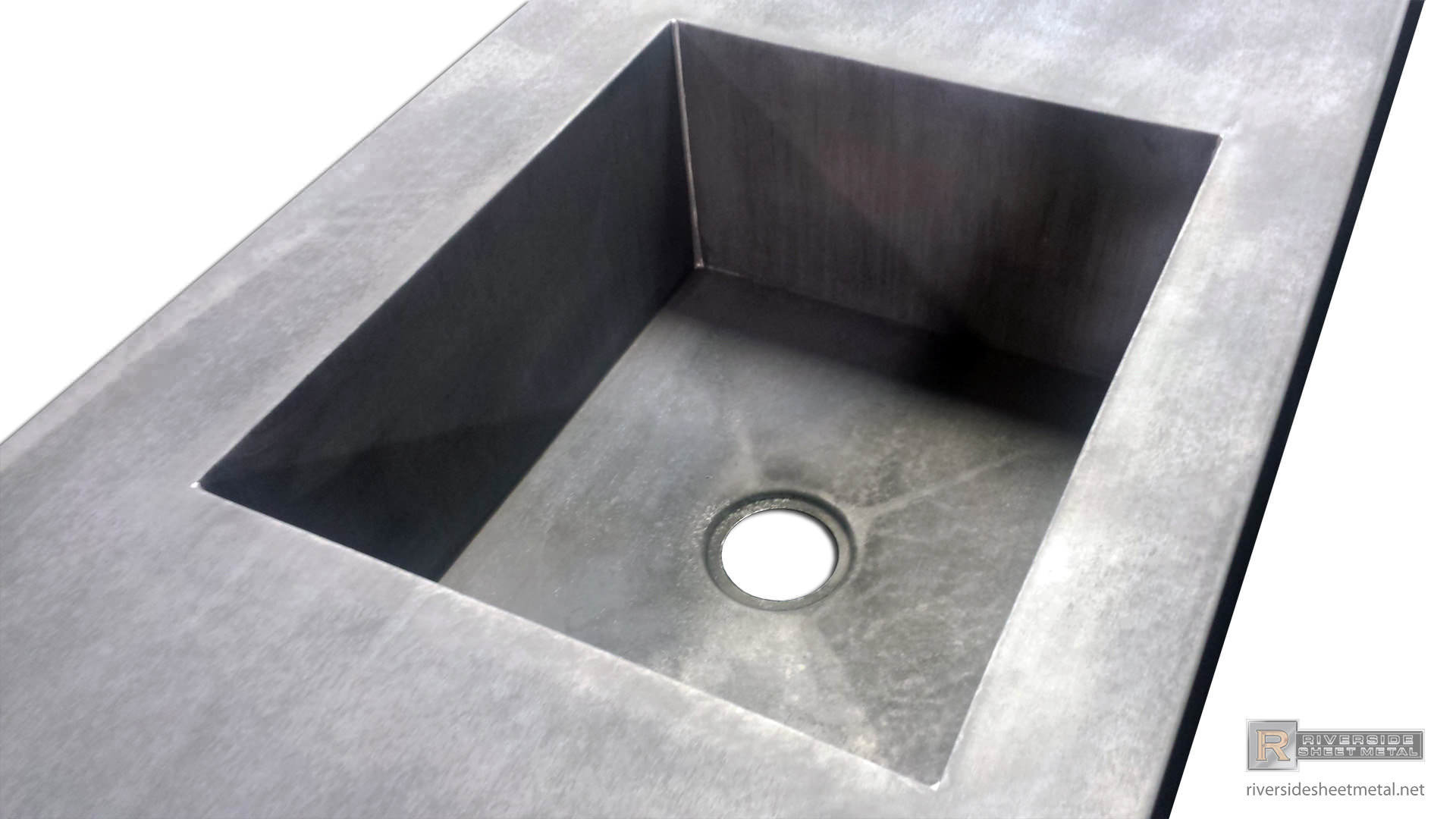 ... Zinc Counter Top With Integrated Sink And Dark Patina Matte Finish