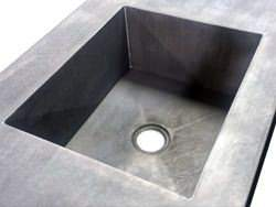 Zinc counter top with integrated sink and dark patina matte finish